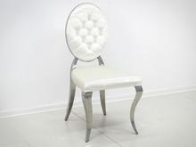 Krzesło welurowe z pikowanym oparciem FT83H - biały