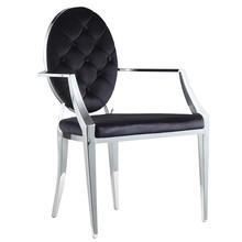 Krzesło welurowe z podłokietnikami FT83 - czarny
