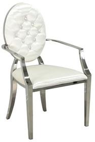 Krzesło welurowe z podłokietnikami FT83 - biały