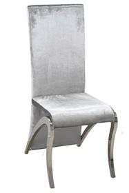 Krzesło wysokie welurowe FT171 - srebrny
