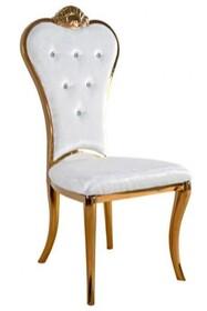 Krzesło z pikowanym oparciem B379 - złoty/beżowy