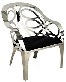 Fotel z ażurowym oparciem FC28 - srebrny/czarny