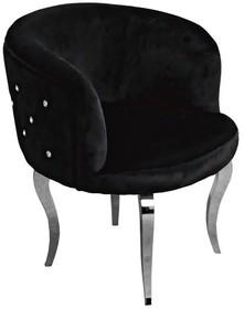 Fotel welurowy pikowany FC39 - czarny