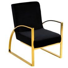 Fotel welurowy z podłokietnikami FC42 - czarny/złoty