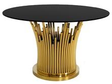 Stół okrągły TH521 130cm - złoty/czarny