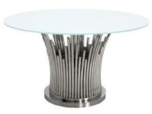 Stół okrągły TH521 130cm - srebrny/biały