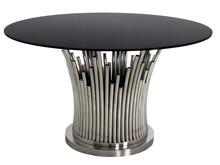 Stół okrągły TH521 130cm - srebrny/czarny