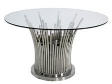 Stół okrągły TH521 130cm - srebrny/przezroczysty