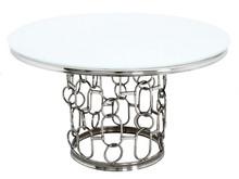 Stół okrągły TH522 130cm srebrny/biały