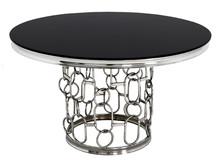 Stół okrągły TH522 130cm srebrny/czarny