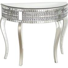 Konsola półokrągła z kryształkami 17JS75 - lustrzany