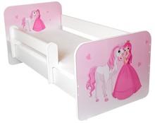 Łóżko dziecięce z barierką IGOR 3 - księżniczka z koniem
