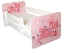 Łóżko dziecięce z barierką IGOR 6 - misiaczek różowy