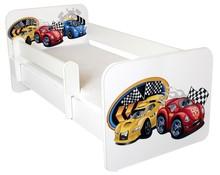 Łóżko dziecięce z barierką IGOR 7 - autka yellow