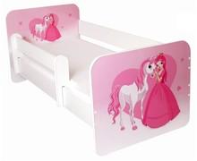 Łóżko dziecięce z barierką IGOR 9 - księżniczka z koniem w sercu