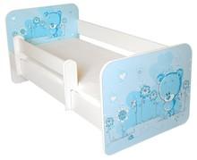 Łóżko dziecięce z barierką IGOR 12 - misiaczek niebieski