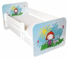Łóżko dziecięce z barierką IGOR 14 - dziewczynka z kotkiem