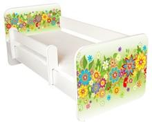 Łóżko dziecięce z barierką IGOR 20 - kwiaty zielone