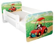 Łóżko dziecięce z barierką IGOR 22 - piesek w autku