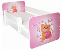Łóżko dziecięce z barierką IGOR 23 - miś z serduszkiem różowy