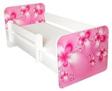 Łóżko dziecięce z barierką IGOR 24 - kwiaty