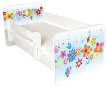 Łóżko dziecięce z barierką IGOR 26 - kwiaty niebieskie