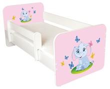 Łóżko dziecięce z barierką IGOR 39 - słonik różowy