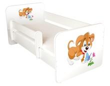 Łóżko dziecięce z barierką IGOR 45 - piesek kwiatek