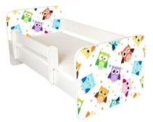 Łóżko dziecięce z barierką IGOR 46 - sowy