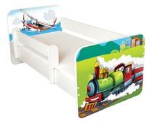 Łóżko dziecięce z barierką IGOR 52 - lokomotywa/samolot