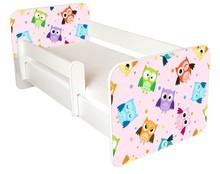 Łóżko dziecięce z barierką IGOR 53 - sowy różowe