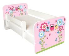 Łóżko dziecięce z barierką IGOR 54 - sowy różowe rodzina