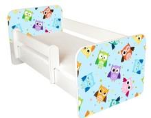 Łóżko dziecięce z barierką IGOR 57 - sowy niebieskie