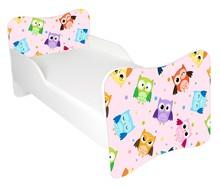 Łóżko dla dzieci WIKI 53 - sowy/różowy