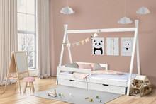 Łóżko dębowe TIPI - biały