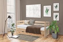Rozkładane łóżko sosnowe KANGUR - naturalny