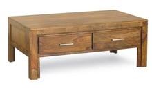 Stolik kawowy drewniany z dwiema szufladami MODENA - palisander miodowy