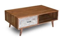 Stolik kawowy drewniany z szufladą i półką BERGEN - akacja naturalna