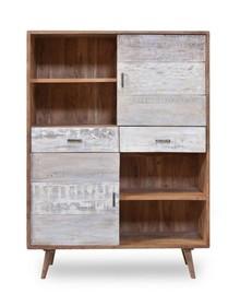 Regał drewniany 2-drzwiowy BERGEN 2 szuflady - akacja naturalna