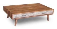 Stolik kawowy drewniany z dwiema szufladami BERGEN - akacja naturalna