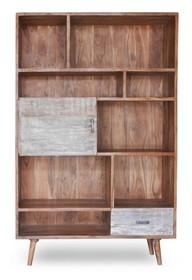 Regał drewniany z drzwiami BERGEN 1 szuflada - akacja naturalna