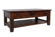 Stolik kawowy drewniany z półką i trzema szufladami ROMA - akacja brąz