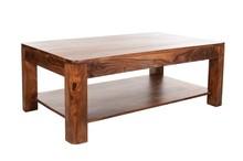 Stolik kawowy drewniany z półką BARI - palisander miodowy