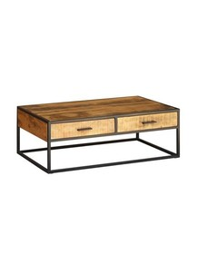Stolik kawowy drewniany z dwiema szufladami MANHATTAN - akacja naturalna
