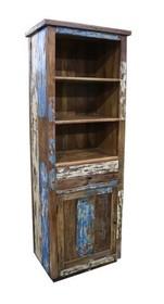 Regał z drewna z odzysku z drzwiami i szufladą RUSTIC VINTAGE