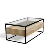 Prostokątny stolik kawowy ze szklanym blatem SOHO - naturalny