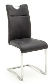 Krzesło ZAGREB E - skóra premium antracyt