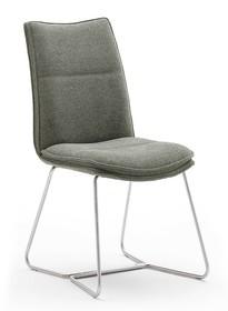 Krzesło tapicerowane HAMPTON E - oliwkowy/stal