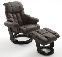 Fotel z podnóżkiem CALGARY - brązowy/czarny