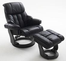 Fotel z podnóżkiem CALGARY - czarny/czarny